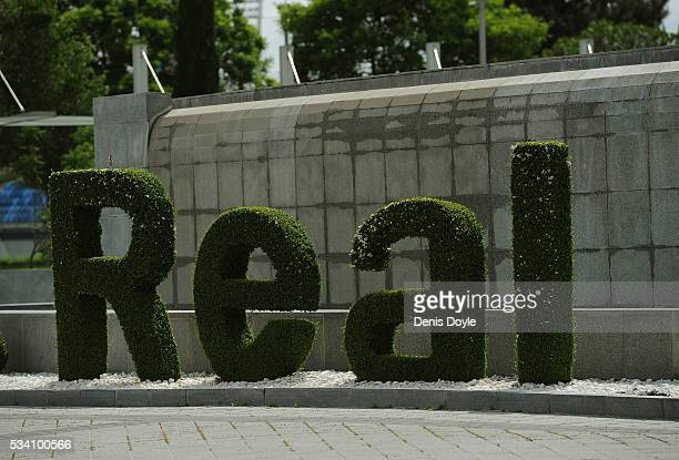 A general view of the fountain at the facilities at Real Madrid's Valdebebas Ciudad del Real Madrid training grounds on May 24 2016 in Madrid Spain...