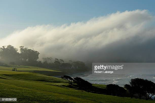 A general view of the fourth hole during round three of the ATT Pebble Beach National ProAm at the Pebble Beach Golf Links on February 13 2016 in...