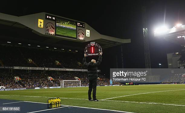 General view of the fourth official holding up the board for time added on during the Premier League match between Tottenham Hotspur and Hull City at...
