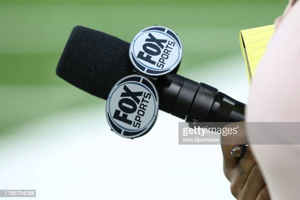 A general view of the FOX Sports logo on a sideline reporter's microphone is seen during a regular season game between the Kansas City Chiefs and the...
