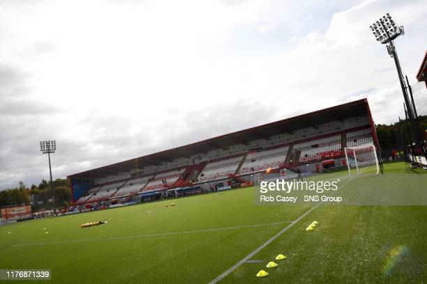 A general view of the FOY Stadium ahead of the Ladbrokes Premiership match between Hamilton and Hibernian at the FOY Stadium on October 19 in...