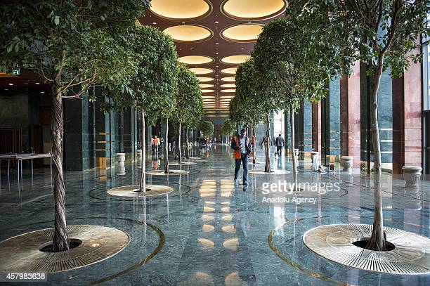 A general view of the foyer area of Turkey's new Presidential Palace built inside Ataturk Forest Farm and going to be used for Turkey's 91st Republic...