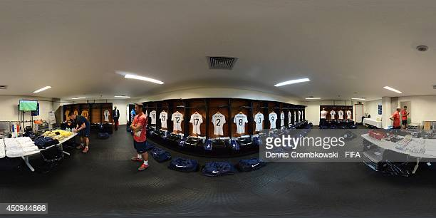 A general view of the France dressing room before the 2014 FIFA World Cup Brazil Group E match between Switzerland v France at Arena Fonte Nova on...