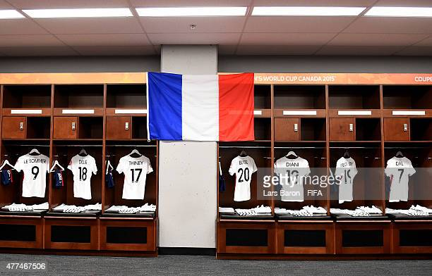 A general view of the France locker room prior to the FIFA Women's World Cup 2015 Group F match between Mexico and France at Lansdowne Stadium on...