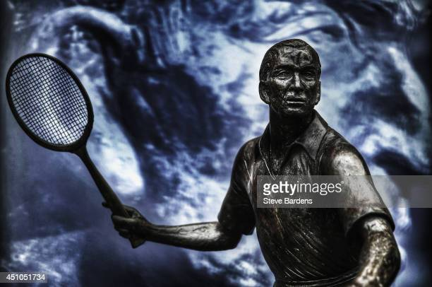 A general view of the Fred Perry statue during previews for Wimbledon Championships at Wimbledon on June 22 2014 in London England