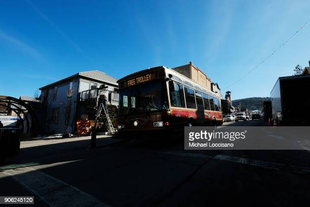 A general view of the free trolley driving up Main Street as Park City prepares for the 2018 Sundance Film Festival on January 17 2018 in Park City...