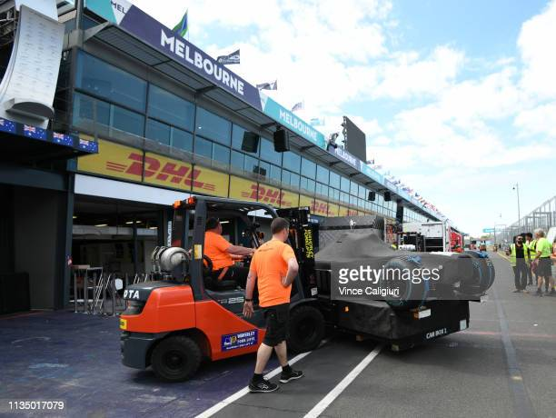 General view of the freight arrival as the teams begin setting up their garages for the Formula 1 Australian Grand Prix 2019 at Albert Park on March...