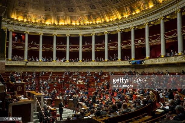 General view of the French National Assembly during a session of questions to the government at the National Assembly.