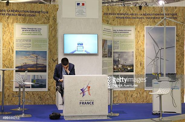A general view of the French pavillon at COP21 on December 1 2015 in Paris FranceThe COP21 summit will see negotiators from 195 countries try to...