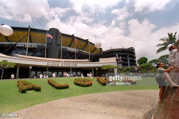General view of the front entrance of Aloha Stadium as children play during an MLB game between the St Louis Cardinals and the San Diego Padres at...