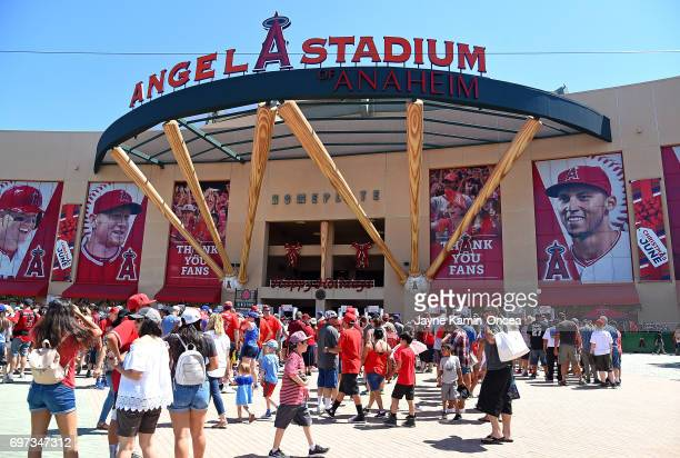 General view of the front entrance to Angel Stadium of Anaheim before the game between the Los Angeles Angels and the Kansas City Royals on June 18...