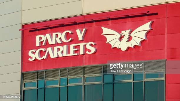 General view of the front of the Parc Y Scarlet stadium where the training Arena has been converted into a Temporary Hospital to deal with the...