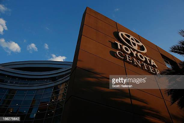 A general view of the front of the Toyota Center prior to the start of the game between the Houston Rockets and the Miami Heat on November 12 2012 in...