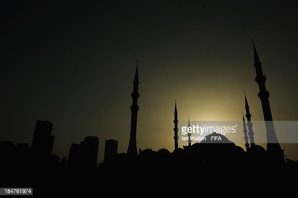 General view of the Fujairah Mosque at dusk ahead of the FIFA U17 World Cup UAE 2103 on October 16 2013 in Fujairah United Arab Emirates