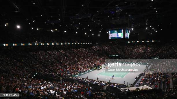 A general view of the full house as Rafael Nadal of Spain competes against Chung Hyeon of South Korea during Day 3 of the Rolex Paris Masters held at...