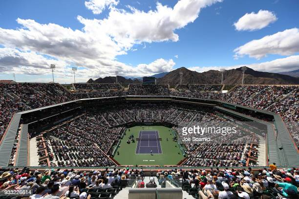 A general view of the full stands during the semifinal match between Roger Federer of Switzerland and Borna Coric of Croatia at BNP Paribas Open Day...