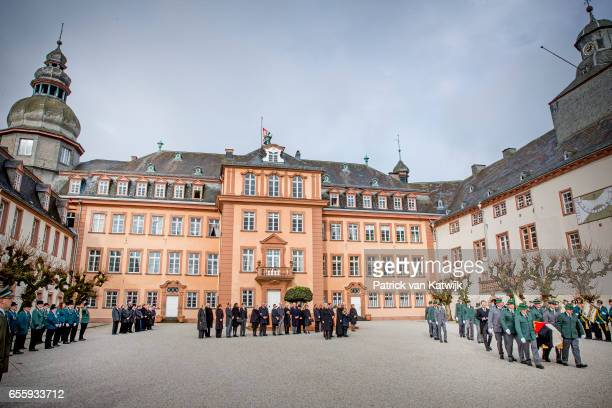 A general view of the funeral service of Prince Richard zu SaynWittgensteinBerleburg at the Evangelische Stadtkirche on March 21 2017 in Bad...