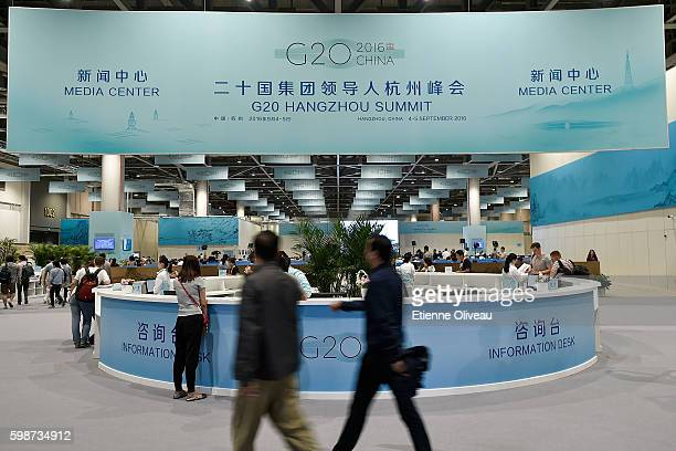 General view of the G20 Hangzhou Summit Media Center entrance on September 2 2016 in Hangzhou China
