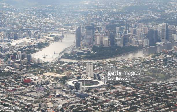 A general view of The Gabba and the Brisbane city skyline before the round nine AFL match between the Brisbane Lions and the Adelaide Crows at The...