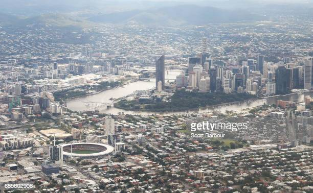General view of The Gabba and the Brisbane city skyline before the round nine AFL match between the Brisbane Lions and the Adelaide Crows at The...