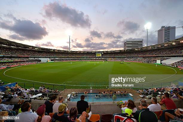 General view of the Gabba is seen at dusk during day one of the First Test match between Australia and Pakistan at The Gabba on December 15, 2016 in...