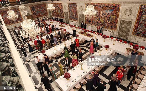 General view of the Gala Dinner to celebrate Queen Margrethe II of Denmark's 40 years on the throne at Christiansborg Palace Chapel on January 15...