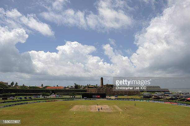 General view of the Galle Cricket Ground with the Australian team fielding during the ICC Women's World Twenty20 2012 Group A match between Australia...