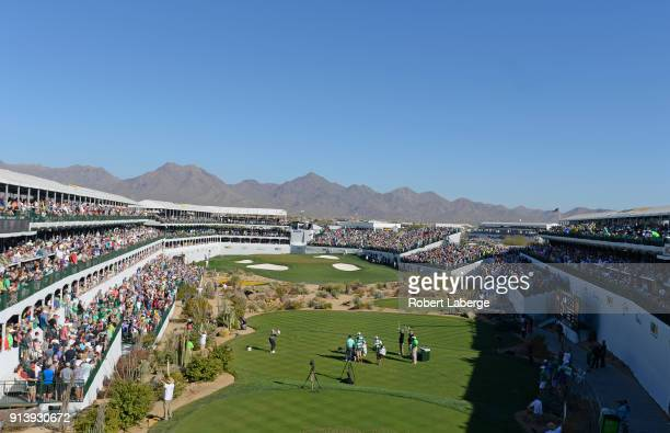 General view of the gallery on the 16th hole during the third round of the Waste Management Phoenix Open at TPC Scottsdale on February 3 2018 in...