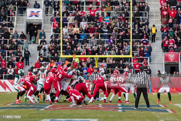 General view of the game as Ty Rausa of the DC Defenders kicks a field goal during the first half of the XFL game against the Seattle Dragons at Audi...
