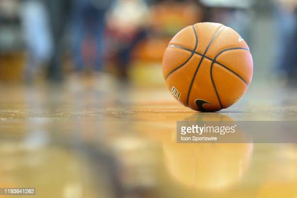 A general view of the game ball resting on the court at the end of the game is seen during a regular season MidAmerican Conference game between the...