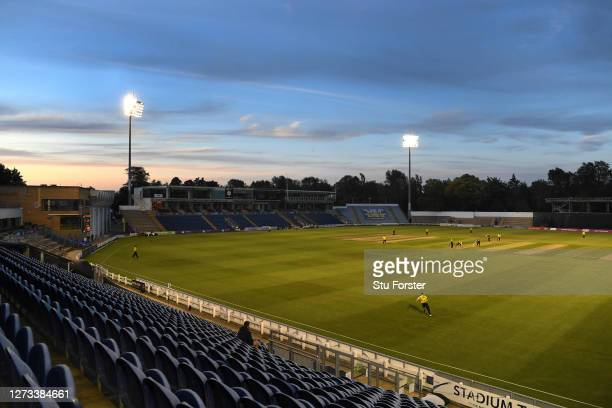 General view of the game being played infront of an empty stadium during the T20 Vitality Blast game between Glamorgan and Gloucestershire at Sophia...