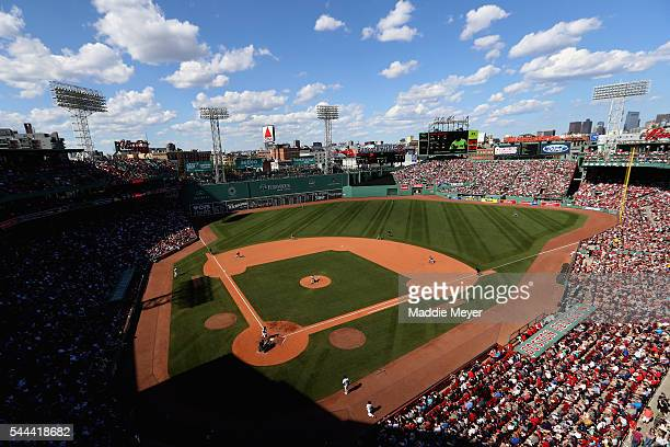 A general view of the game between the Boston Red Sox and the Los Angeles Angels during the sixth inning at Fenway Park on July 3 2016 in Boston...