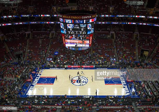 A general view of the game between the Dallas Mavericks and Philadelphia 76ers on November 16 2015 at the Wells Fargo Center in Philadelphia...