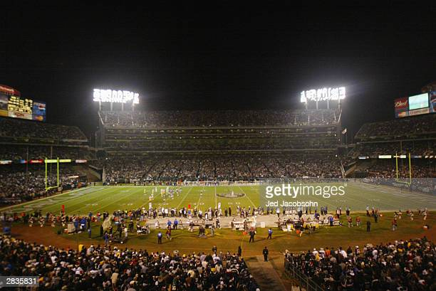 A general view of the game between the Green Bay Packers and the Oakland Raiders at the Network Associates Coliseum on December 22 2003 in Oakland...