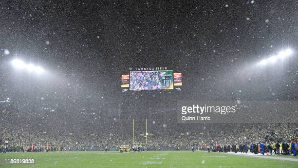 A general view of the game between the Green Bay Packers and the Carolina Panthers in the fourth quarter at Lambeau Field on November 10 2019 in...