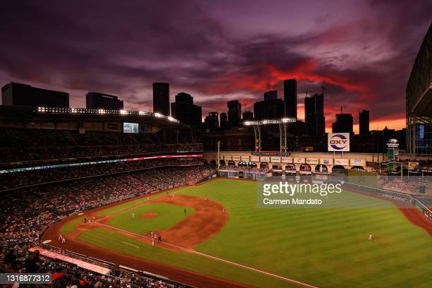 General view of the game between the Houston Astros and the Toronto Blue Jays during the third inning at Minute Maid Park on May 07, 2021 in Houston,...