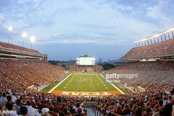 A general view of the game between the Louisiana Monroe Warhawks and the Texas Longhorns on September 5 2009 at Darrell K RoyalTexas Memorial Stadium...