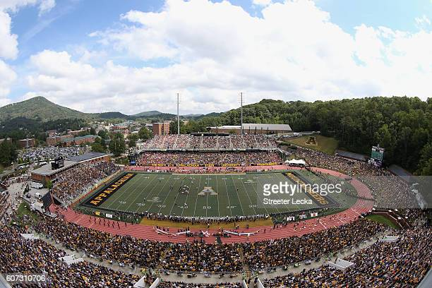 A general view of the game between the Miami Hurricanes and Appalachian State Mountaineers at Kidd Brewer Stadium on September 17 2016 in Boone North...