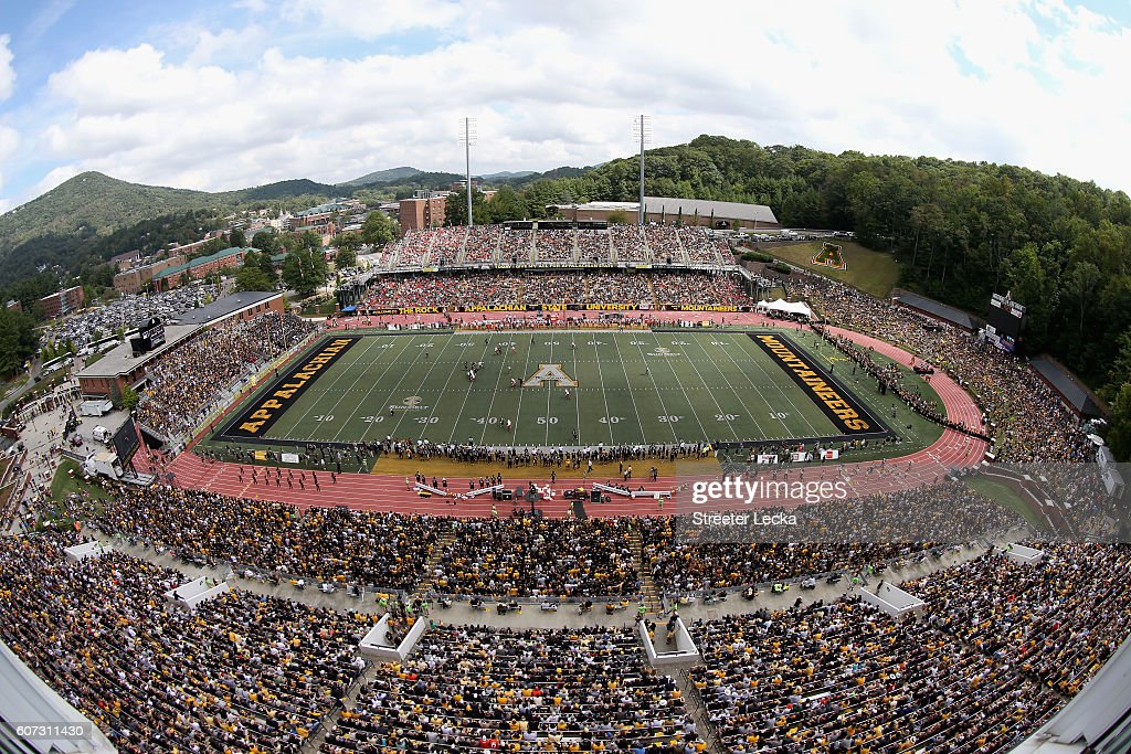 A general view of the game between the Miami Hurricanes and Appalachian State Mountaineers at Kidd Brewer Stadium on September 17, 2016 in Boone, North Carolina.