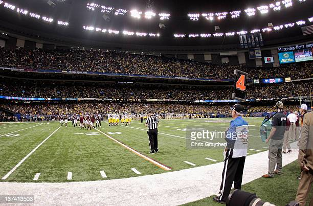 A general view of the game between the Michigan Wolverines and the Virginia Tech Hokies during the Allstate Sugar Bowl at MercedesBenz Superdome on...