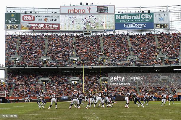 General view of the game between the New England Patriots and the Cleveland Browns at Cleveland Browns Stadium on December 5 2004 in Cleveland Ohio...