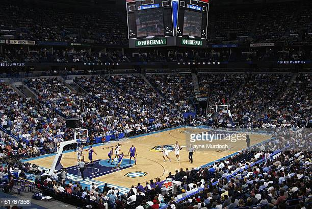 General view of the game between the New Orleans Hornets and the Los Angeles Lakers on November 9 2004 at the New Orleans Arena in New Orleans...