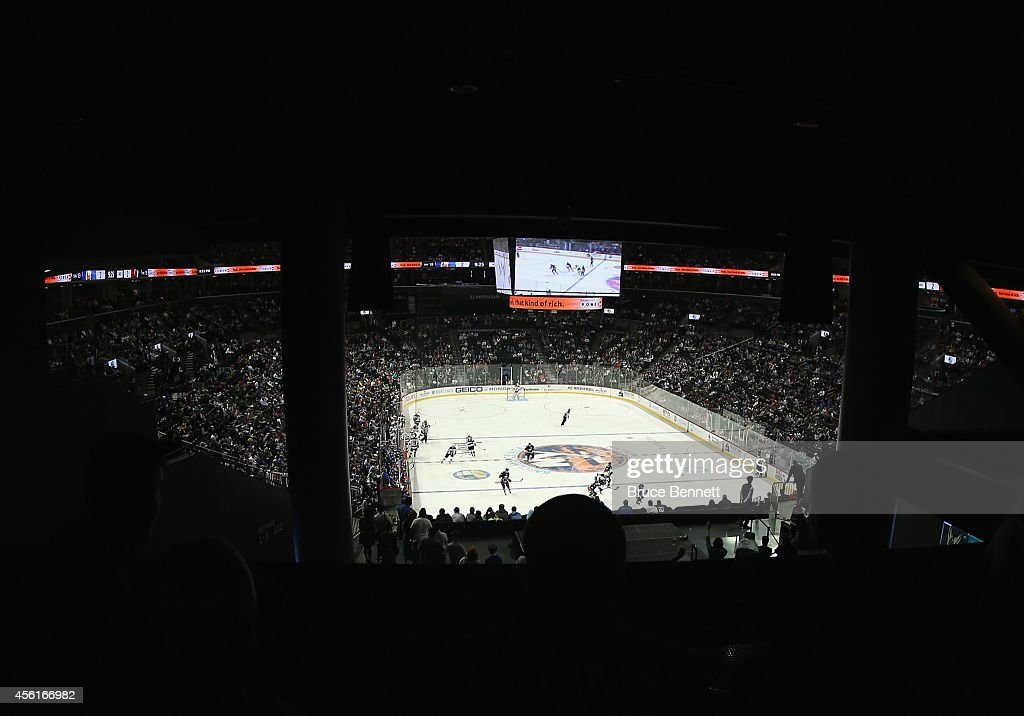 A general view of the game between the New York Islanders and the New Jersey Devils at the Barclays Center on September 26, 2014 in the Brooklyn borough of New York City. The Islanders defeated the Devils 3-2 in the shootout.