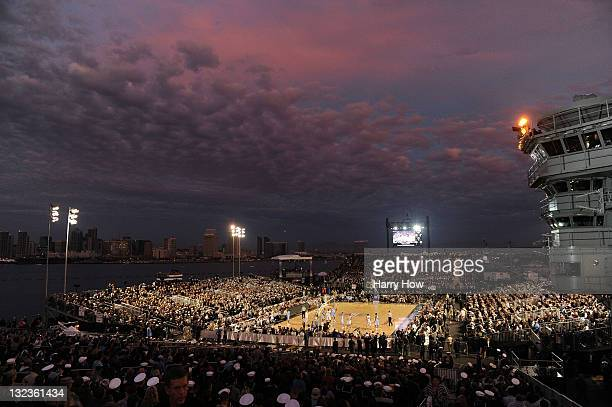 General View of the game between the North Carolina Tar Heels and the Michigan State Spartans during the Quicken Loans Carrier Classic on board the...