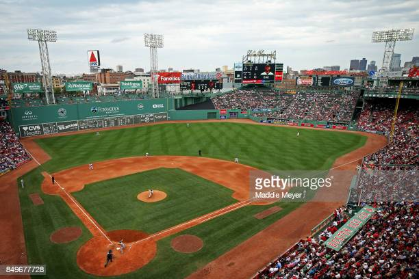 A general view of the game between the Oakland Athletics and the Boston Red Sox during the eighth inning at Fenway Park on September 14 2017 in...