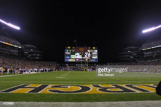 A general view of the game between the Oakland Raiders and the Pittsburgh Steelers on September 15 2002 at Heinz Field in Pittsburgh Pennsylvania...