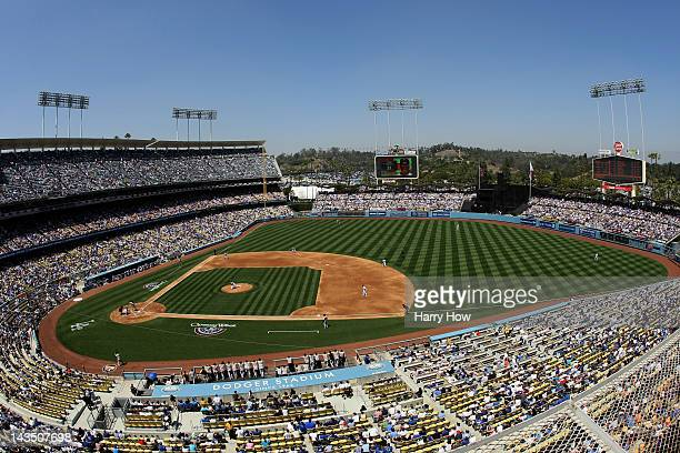 General View of the game between the Pittsburgh Pirates and the Los Angeles Dodgers during opening day at Dodger Stadium on April 10 2012 in Los...