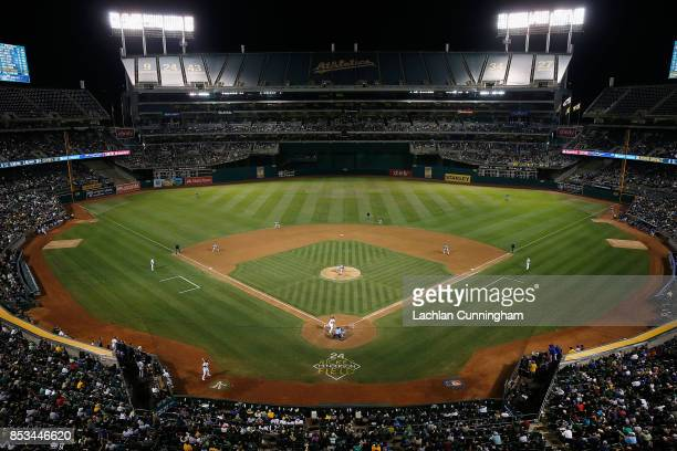 A general view of the game between the Texas Rangers and the Oakland Athletics at Oakland Alameda Coliseum on September 23 2017 in Oakland California