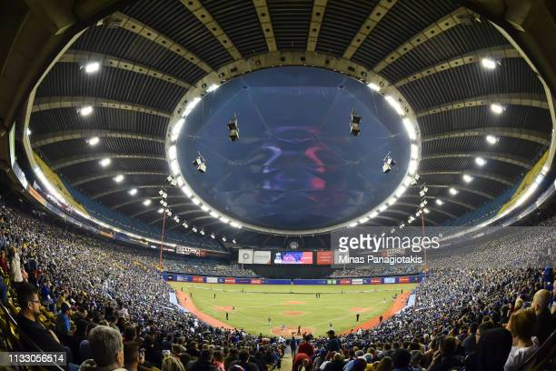 General view of the game between the Toronto Blue Jays and the Milwaukee Brewers during MLB spring training at Olympic Stadium on March 26 2019 in...
