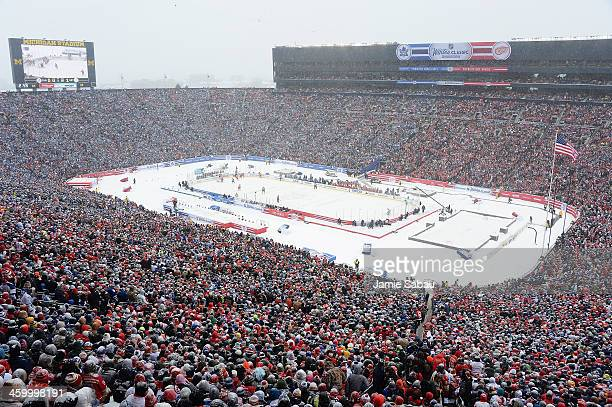 A general view of the game between the Toronto Maple Leafs and Detroit Red Wings during the 2014 Bridgestone NHL Winter Classic on January 1 2014 at...
